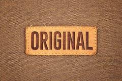 Etichetta di cuoio originale dell'etichetta Fotografie Stock