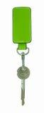Etichetta di cuoio verde e un keychain Fotografie Stock Libere da Diritti