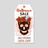 Etichetta di Halloween con il cranio ed i fiori neri Fotografia Stock