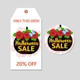 Etichetta di Halloween, etichetta Fotografia Stock Libera da Diritti