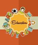 Etichetta di istruzione di nuovo alle icone della scuola. Immagine Stock