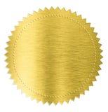 Etichetta di marchio dell'autoadesivo del foglio metallizzato dell'oro isolata con Immagini Stock