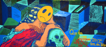 Etichetta di Montreal di arte della via Fotografia Stock