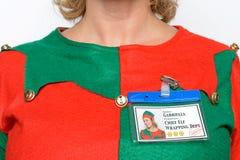 Etichetta di nome di Elf del capo Fotografia Stock