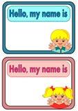 Etichetta di nome per i bambini Fotografie Stock