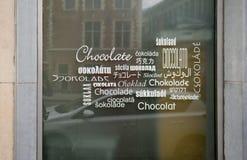 Etichetta di parola del cioccolato sulla finestra Fotografie Stock Libere da Diritti