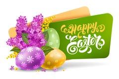 Etichetta di Pasqua con i fiori della primavera illustrazione vettoriale