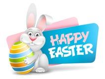 Etichetta di Pasqua con il coniglietto divertente royalty illustrazione gratis