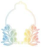 Etichetta di pendenza con i fiori decorativi Copi lo spazio Immagine Stock Libera da Diritti