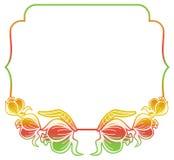 Etichetta di pendenza con i fiori decorativi Copi lo spazio Fotografie Stock