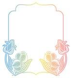 Etichetta di pendenza con i fiori decorativi Copi lo spazio Fotografie Stock Libere da Diritti