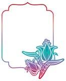 Etichetta di pendenza con i fiori decorativi Copi lo spazio Fotografia Stock Libera da Diritti