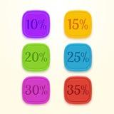 Etichetta di prezzo di vendita dell'autoadesivo delle percentuali di sconto Fotografia Stock Libera da Diritti