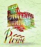 Etichetta di Roma con il Colosseo disegnato a mano, segnante Roma con lettere con il materiale di riempimento dell'acquerello Fotografie Stock Libere da Diritti