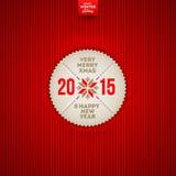 Etichetta di saluto del nuovo anno e di Natale Fotografia Stock Libera da Diritti