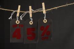etichetta di sconto di 45 per cento Fotografia Stock Libera da Diritti