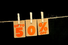 etichetta di sconto di 50 per cento Fotografia Stock Libera da Diritti