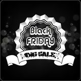 Etichetta di tipografia di Black Friday con i nastri Immagine Stock