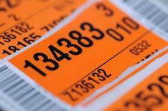 Etichetta di trasporto con il codice a barre Fotografia Stock Libera da Diritti
