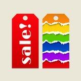 Etichetta di vendita con fondo di carta lacerato Illustrazione di Stock