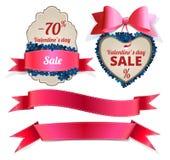 Etichetta di vendita di San Valentino e raccolta dell'insegna Fotografie Stock Libere da Diritti
