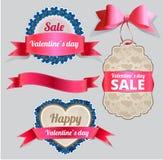 Etichetta di vendita di San Valentino e raccolta dell'insegna Immagini Stock