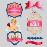 Etichetta di vendita di San Valentino e raccolta dell'insegna Immagini Stock Libere da Diritti