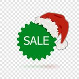 Etichetta di vendita di Natale di vettore, il cappello di Santa, illustrazione isolata su fondo trasparente illustrazione vettoriale