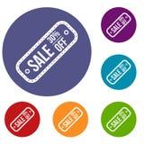 Etichetta di vendita 30 per cento fuori dalle icone messe Immagine Stock