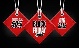 Etichetta di vendite di Black Friday su fondo nero Illustrazione di Stock