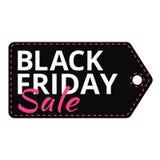 Etichetta di vendite di Black Friday con testo Immagini Stock Libere da Diritti