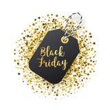 Etichetta di vendite di Black Friday Etichetta nera con scintillio dorato su backround bianco Fotografia Stock Libera da Diritti