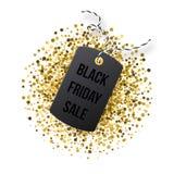 Etichetta di vendite di Black Friday Etichetta nera con scintillio dorato su backround bianco Fotografia Stock