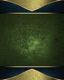 Etichetta di verde di lerciume con la struttura dorata Mascherina per il disegno copi lo spazio per l'opuscolo dell'annuncio o l' Fotografia Stock