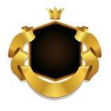 Etichetta di vettore e reale ed insegna del nastro dell'oro, Fotografie Stock Libere da Diritti