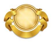 Etichetta di vettore e reale ed insegna del nastro dell'oro, Fotografia Stock