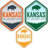 Etichetta di vettore di Kansas con il bisonte del bufalo Fotografia Stock Libera da Diritti