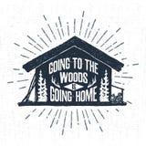 Etichetta disegnata a mano con l'illustrazione di legno strutturata di vettore della cabina Fotografia Stock