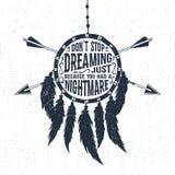 Etichetta disegnata a mano con l'illustrazione e l'iscrizione di sogno di vettore del collettore Immagini Stock Libere da Diritti