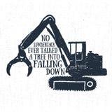 Etichetta disegnata a mano con l'illustrazione e l'iscrizione strutturate di vettore del caricatore del legname Immagini Stock