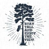 Etichetta disegnata a mano con l'illustrazione strutturata di vettore del pino e l'iscrizione ispiratrice Immagine Stock