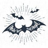 Etichetta disegnata a mano di Halloween con l'illustrazione e l'iscrizione strutturate di vettore Immagini Stock