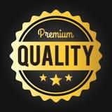 Etichetta/distintivo dorati di commercio di qualità premio Fotografia Stock