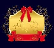 Etichetta dorata con rosso Fotografia Stock