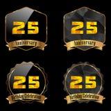 etichetta dorata di celebrazione di compleanno di 25 anni, venticinquesimo anniversario Immagine Stock