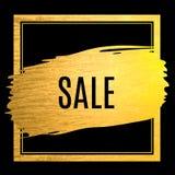 Etichetta dorata di offerta di vendita del colpo della pittura Fotografia Stock