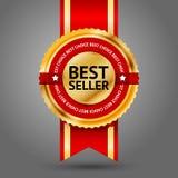 Etichetta dorata e rossa premio del best-seller con Fotografie Stock