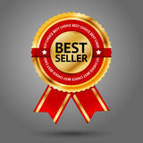 Etichetta dorata e rossa premio del best-seller con Fotografie Stock Libere da Diritti