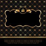Etichetta dorata sul fondo del nero del damasco Immagine Stock