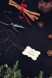Etichetta e fondo di Natale Fotografia Stock